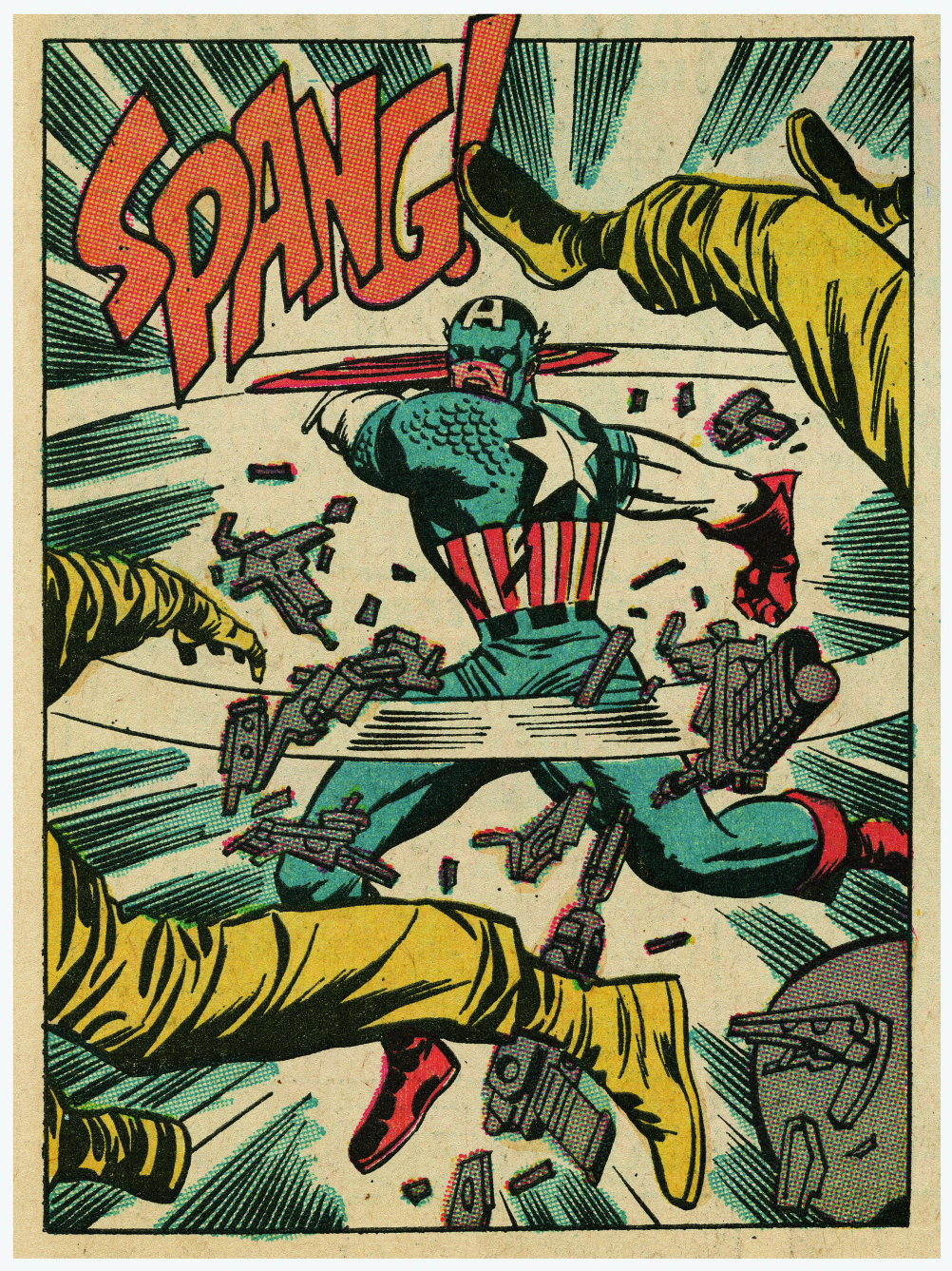"TALES OF SUSPENSE No. 94. Interior, ""If This Be MODOK!""; script, Stan Lee; pencils, Jack Kirby; inks, Joe Sinnott; October 1967. Kirby's explosive action takes center stage in this panel detail. Starting in 1964, Stan Lee and Jack Kirby revived the the or"