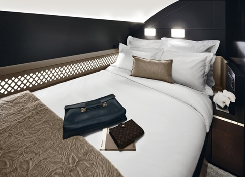 The VIP bedroom in the new Etihad interiors, developed by a team including Factorydesign