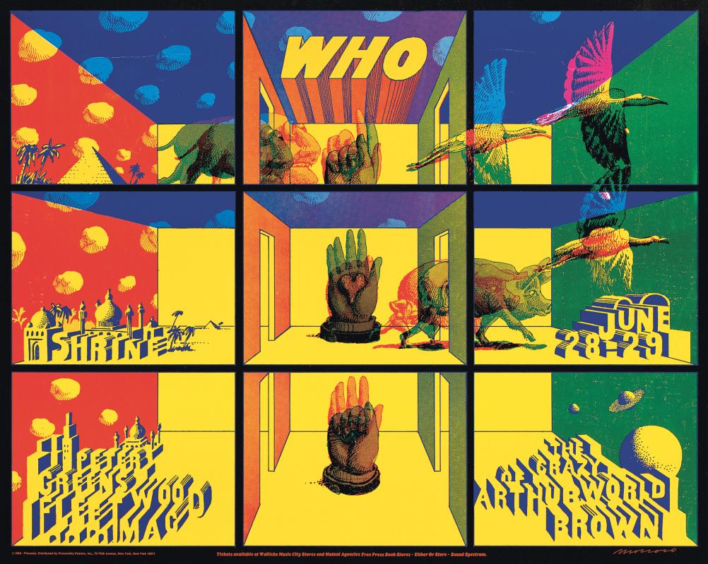 John Van Hamersveld and Victor Moscoso. The Who (with Fleetwodd Mac) Shrine Auditorium Concert Poster, 1968