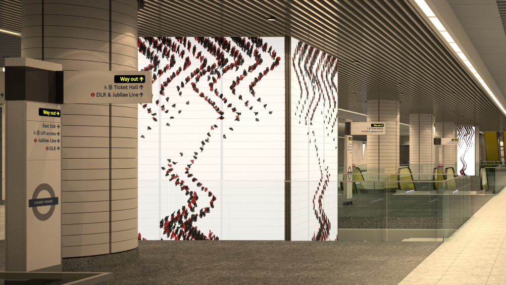 Canary Wharf Crossrail installation by Michal Ronver