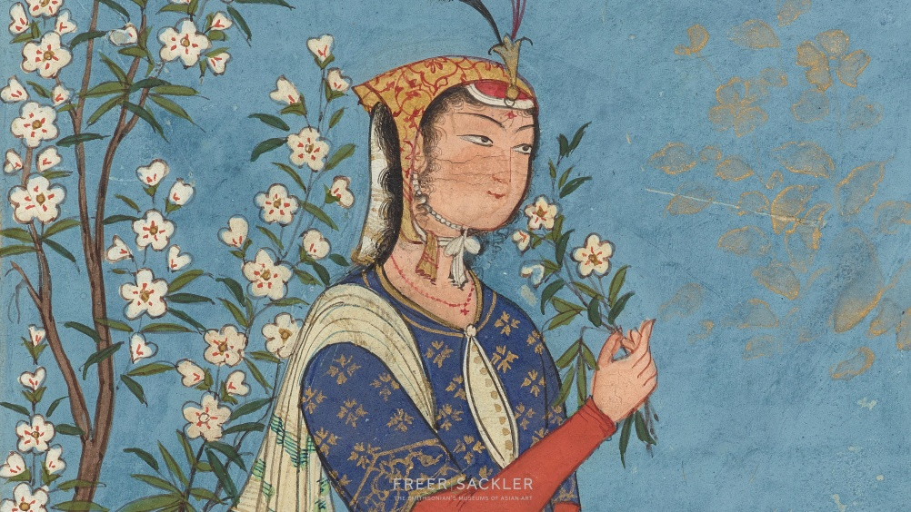 Woman with a spray of flowers; Iran, Safavid period, ca. 1575