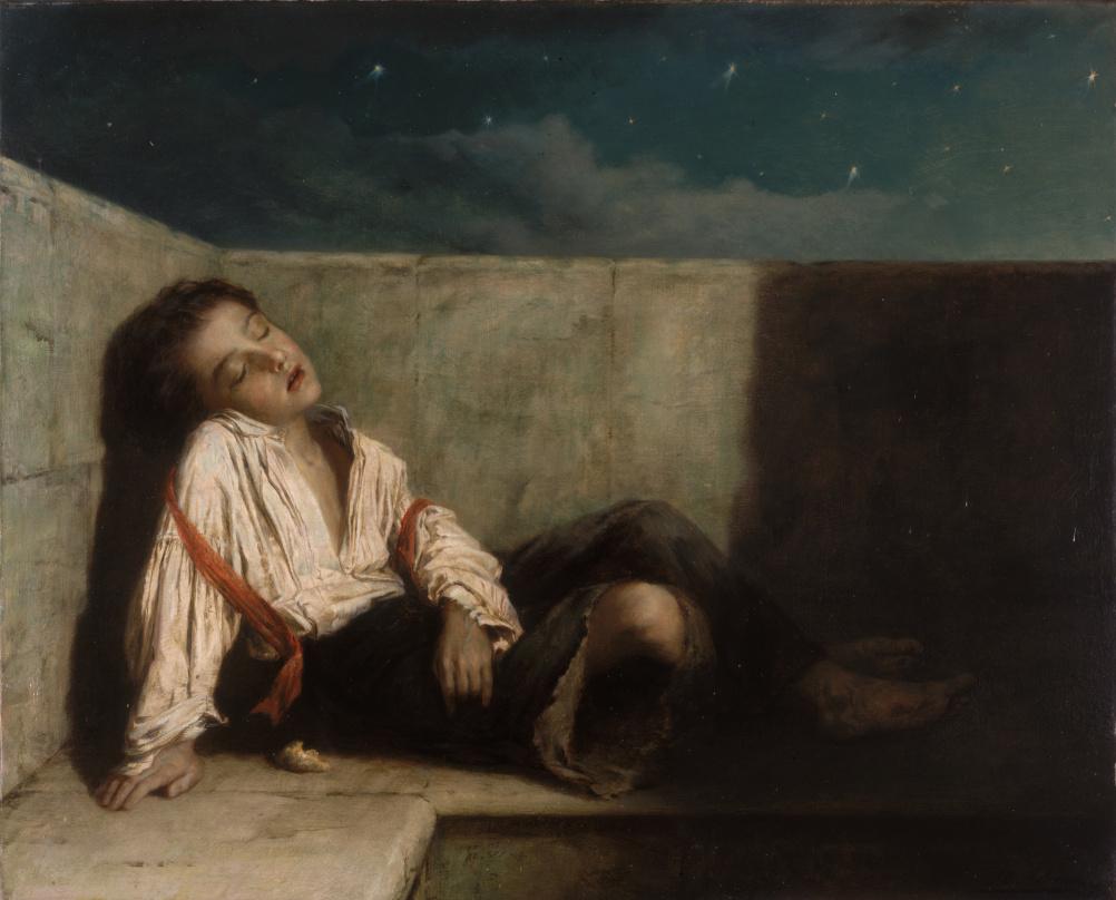 A Recess on a London Bridge by Augustus Edwin Mulready – oil on canvas 1879