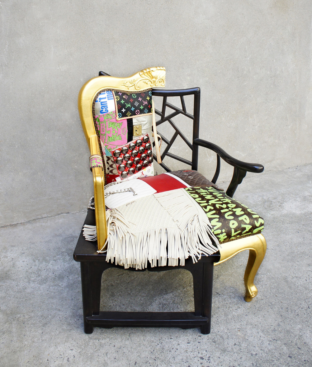 Danful Yang,  Fake One, 2009.  Replica bags and fabric upholstery with Elmwood frame