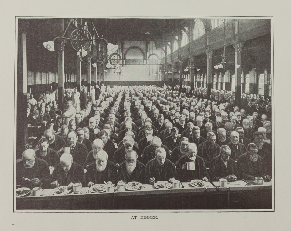 Men at dinner in St Marylebone Workhouse London c1900