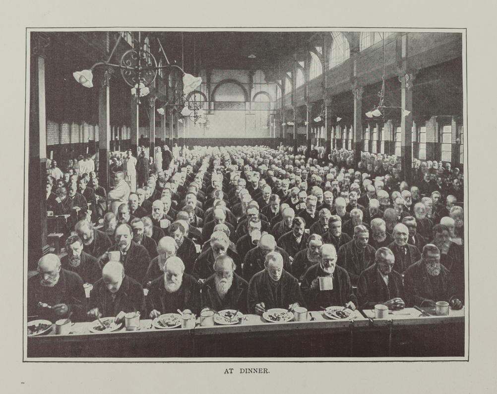 Men at dinner in St Marylebone Workhouse London c1900