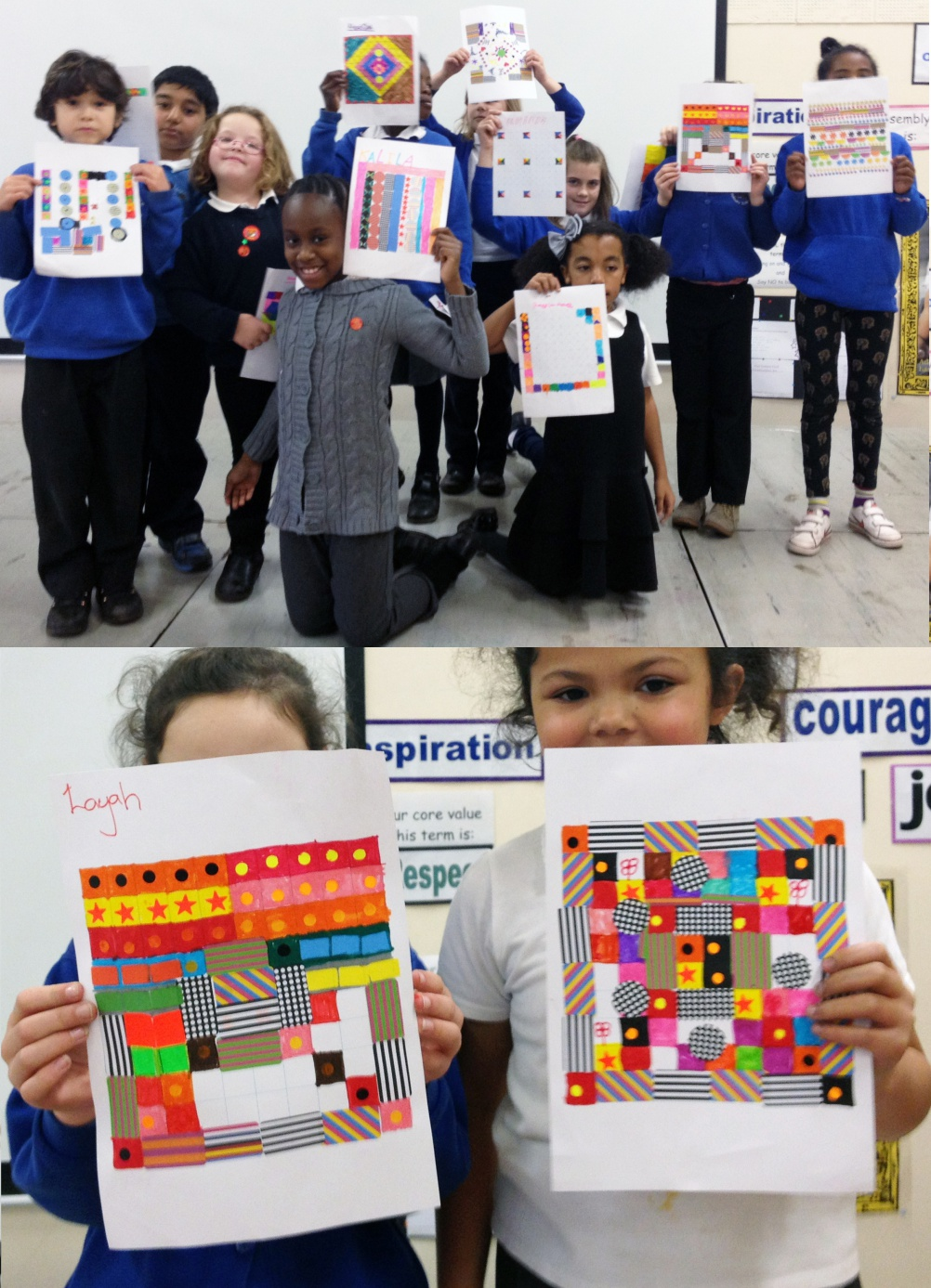 Children of Glenfrome Primary School, Eastville, showcasing their patterns for the Wonder Pavilion