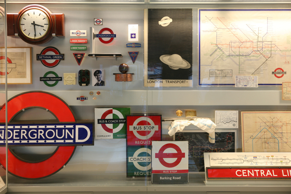 Sings showing Johnston typeface at the London Transport Museum