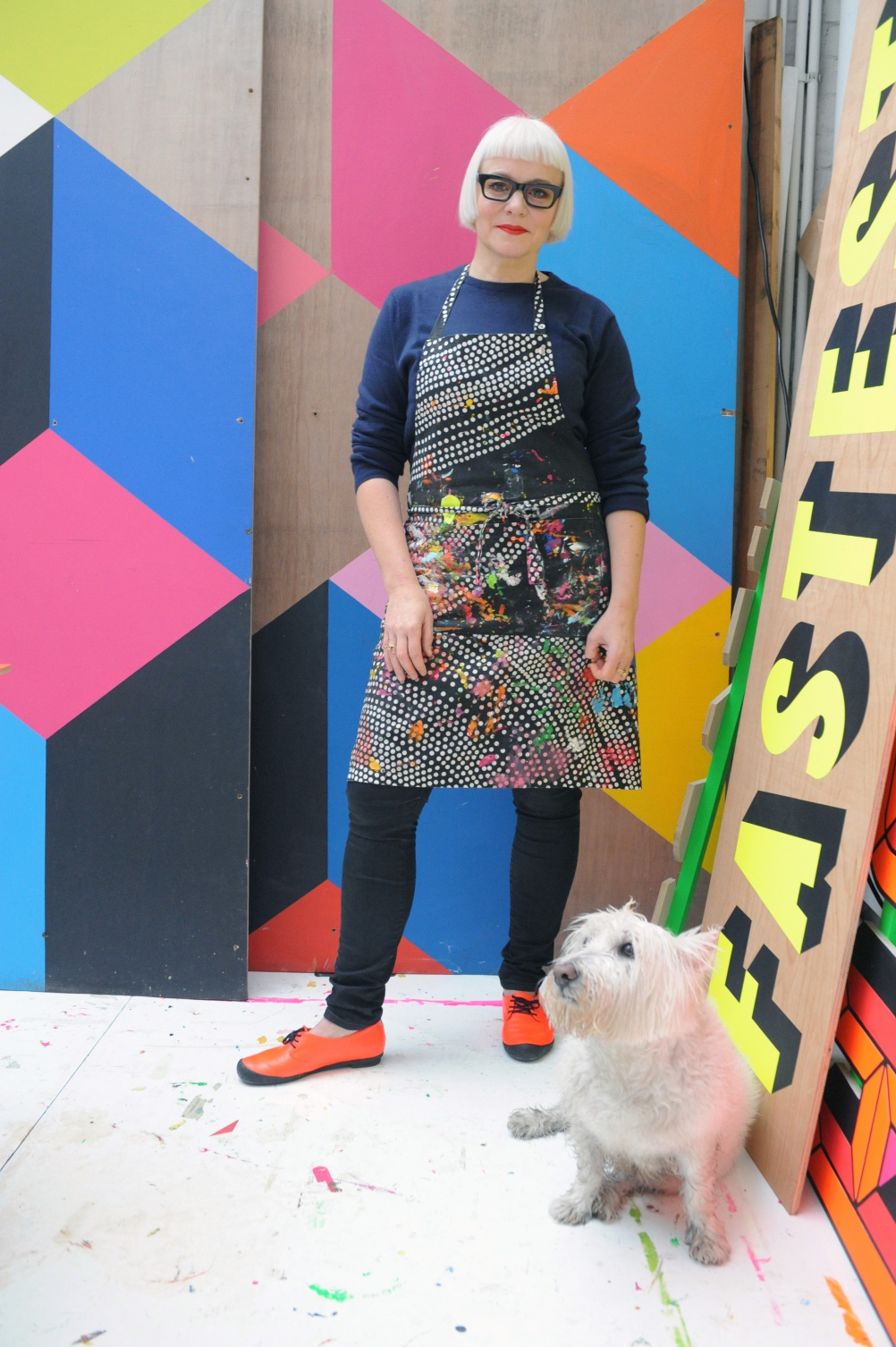 © Luke Morgan. Morag Myerscough with her dog Lemmy