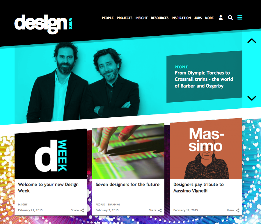 The new Design Week homepage
