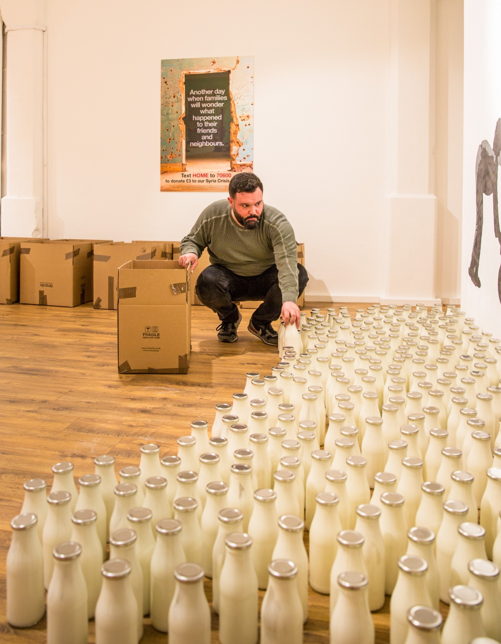Ibrahim Fakhri, 1461 days and counting installation for British Red Cross, London Britain - 15 Mar 2015