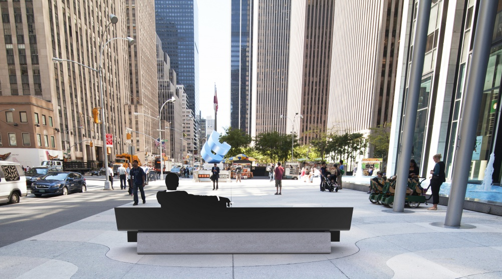Mad Men tribute bench – designed by Pentagram partners Michael Bierut, Emily Oberman and Lorenzo Apicella