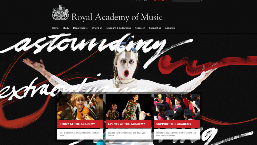 New Royal Academy of Music website, by Mystery
