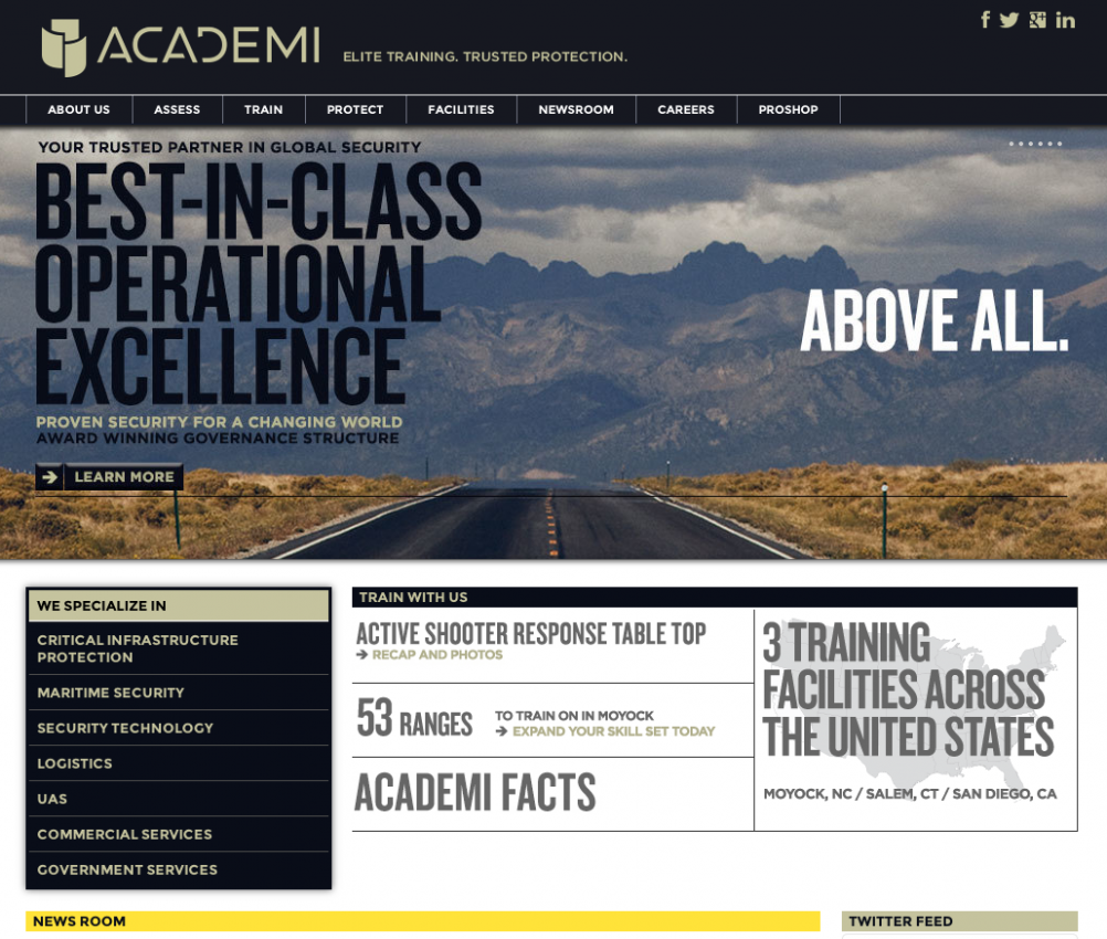 The Academi website