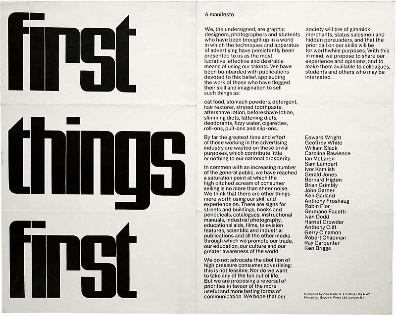 Ken Garland's 1964 First Things First manifesto