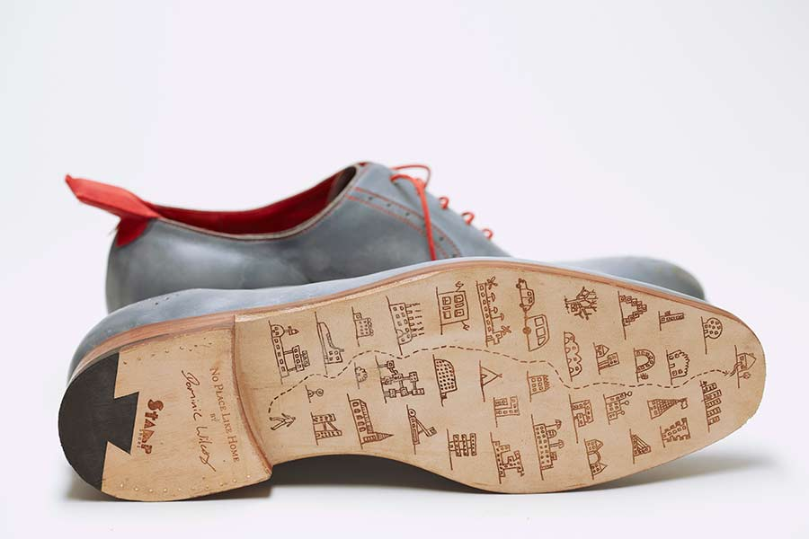 Note his doodles on the sole of the shoe showing a navigated journey.
