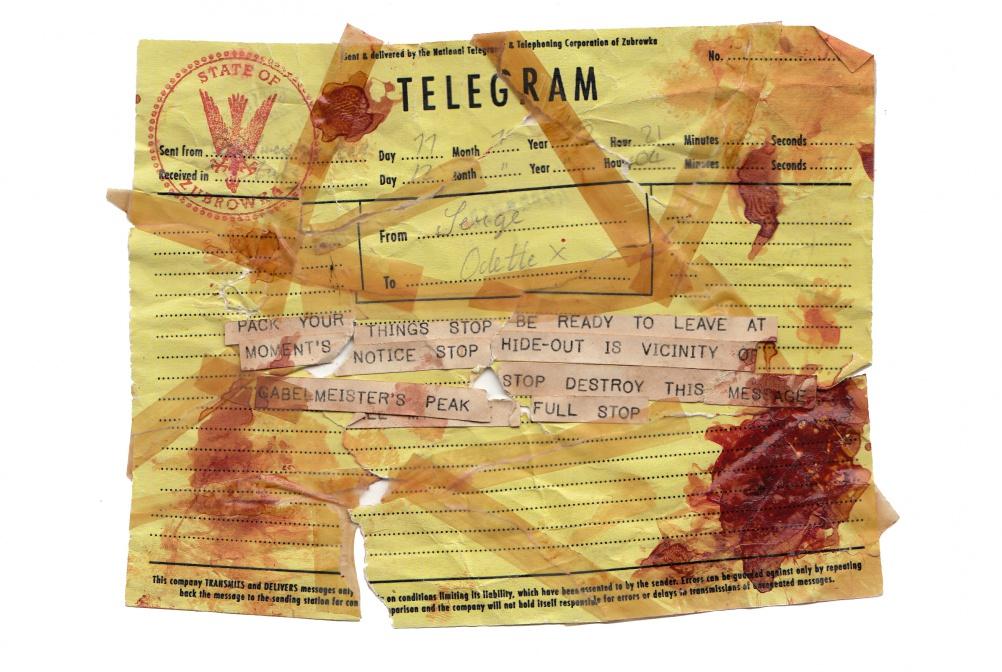 A telegram graphic from The Grand Budapest Hotel