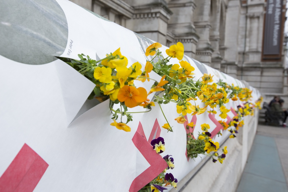 'Ag Bags' installed on the V&A's stone façade as part of a work by Natalie Jermijenko © Peter Kelleher/Victoria & Albert Museum, London 2015