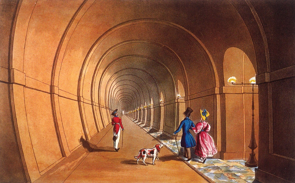 Pedestrians walk through the Thames Tunnel