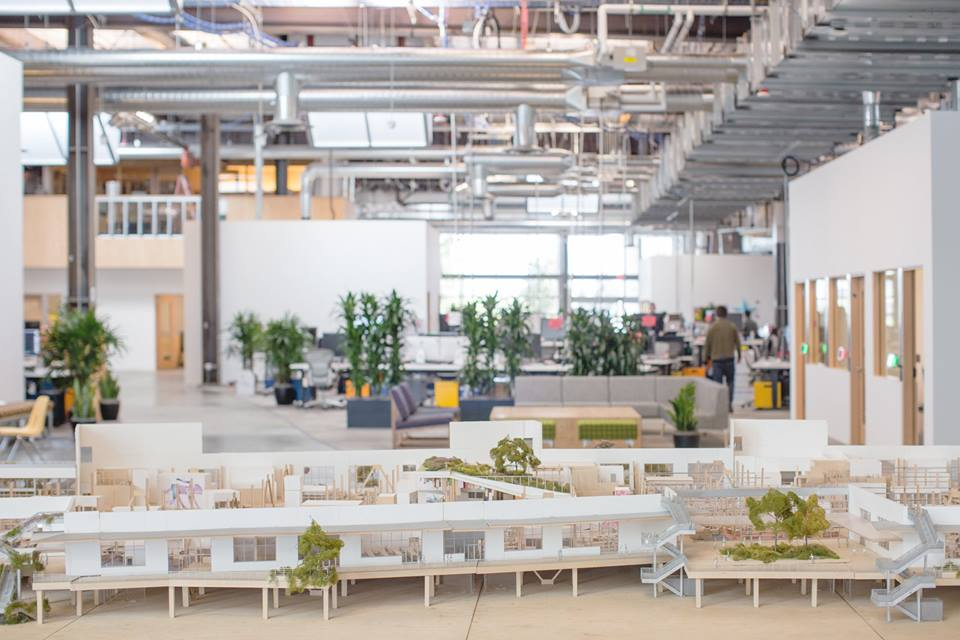 A model of the new Facebook office inside the new Facebook office. From Mark Zuckerberg's Facebook page