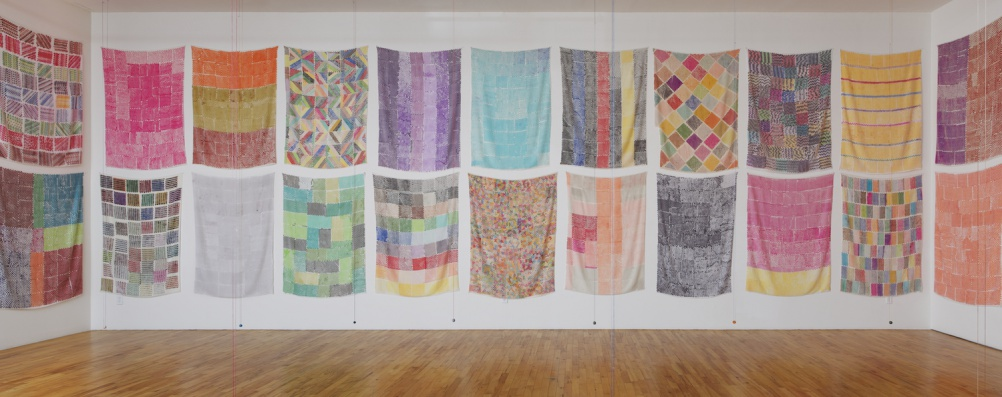 Polly Apfelbaum Handweavers Pattern Book installation, 2014. Courtesy of the artist and Clifton Benevento. Photo by Andres Ramirez