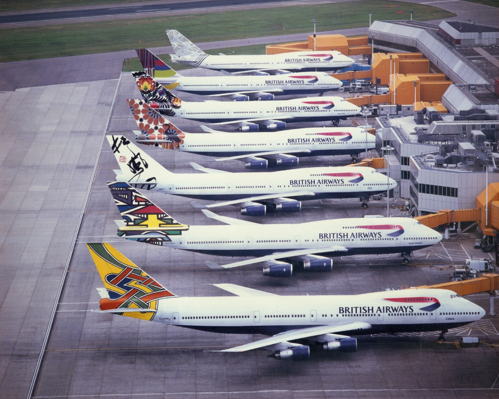 "A selection of the nearly 50 different tailfin designs that were commissioned as part of the ""World Images"" project"