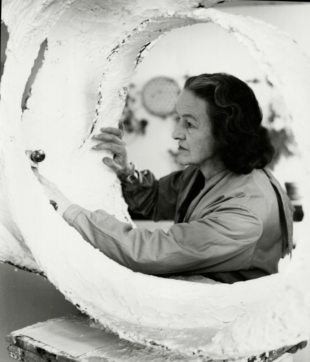 Barbara Hepworth working on Oval Form, Trezion, 1963, Photograph by Val Wilmer, Courtesy Bowness, Hepworth Estate