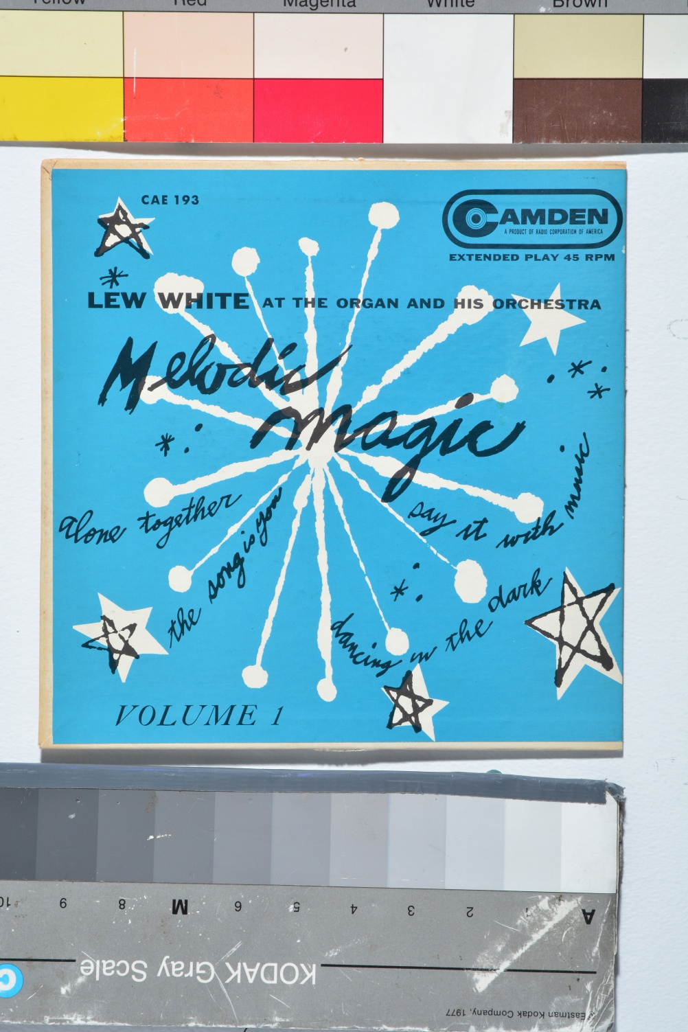 Melodic Magic Volume I, 1953. Lew White at the organ and his orchestra. © The Andy Warhol Foundation for the Visual Arts, Inc.