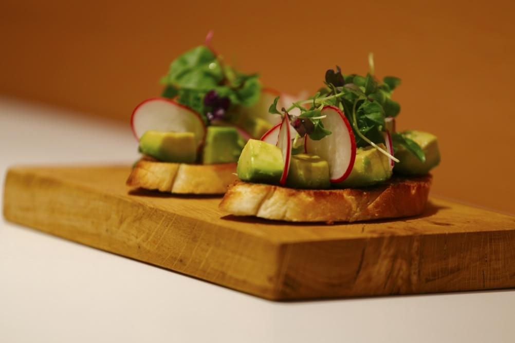 Fresh avocado on toasted sourdough
