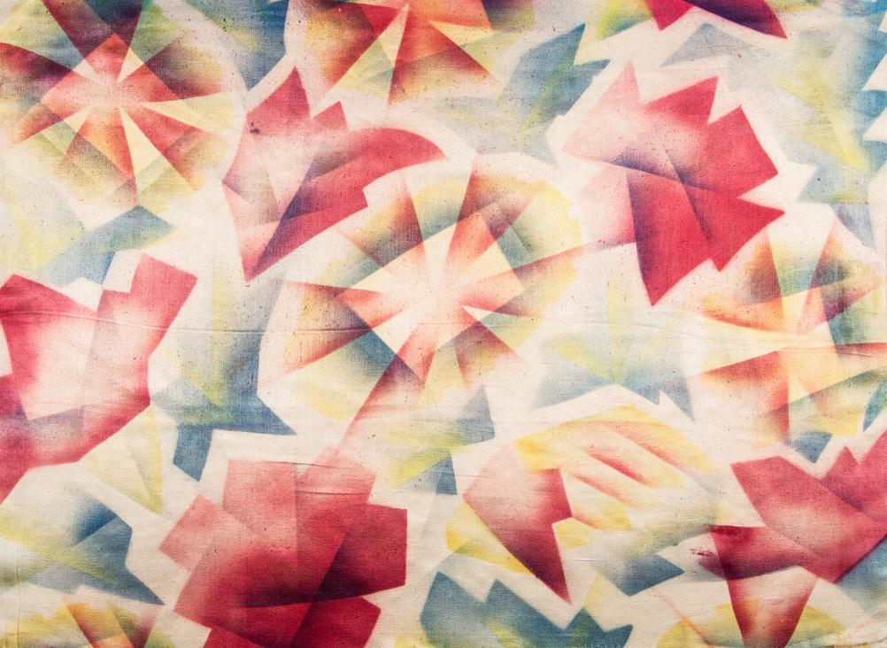 Ludmila Mayakovskaya, Textile design, airbrushed silk, c.1920s, Courtesy Mayakovsky Museum, Moscow