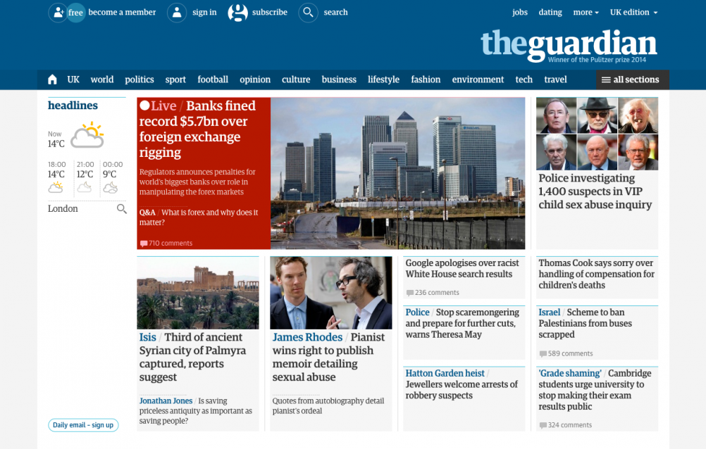 The redesigned Guardian website