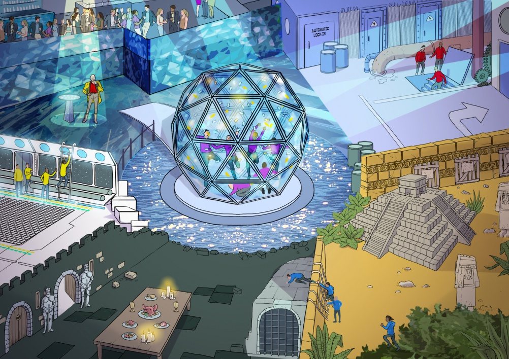 A visualisation of the Crystal Maze installation