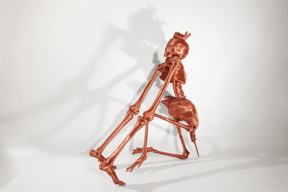 SKELETONS, APPLE MAC PLUGS, 1 m x 70 cm, copper wire, 2013, Photo ∏ Matt Holyoak