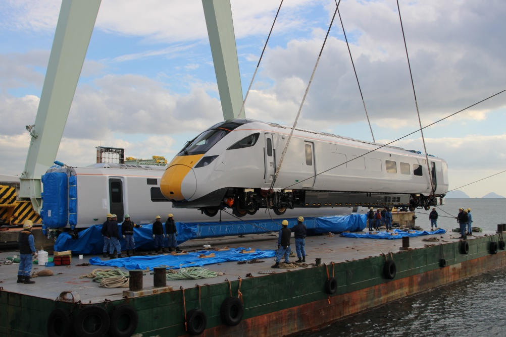 A Class 800 train is shipped from Japan for testing