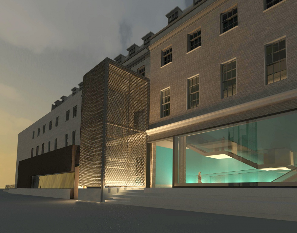 Render of London Science Gallery tower lift, which will be visible from outside
