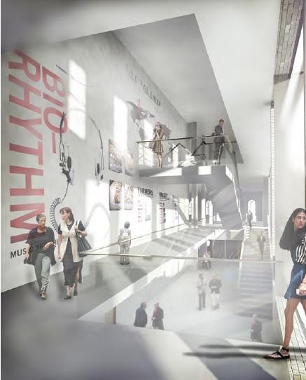 Render of Science Gallery London atrium