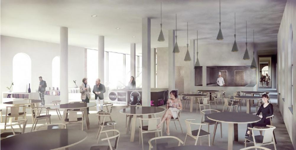 Render of Science Gallery London cafe
