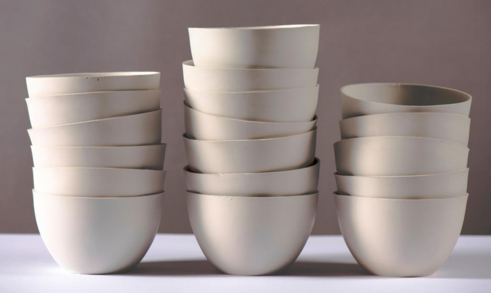 Slipcast bowls from Clare Twomey's installation