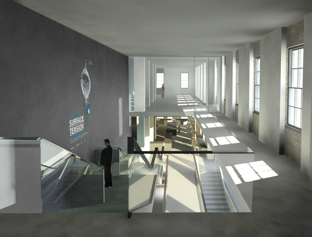 Render of Science Gallery London first floor balcony interiors