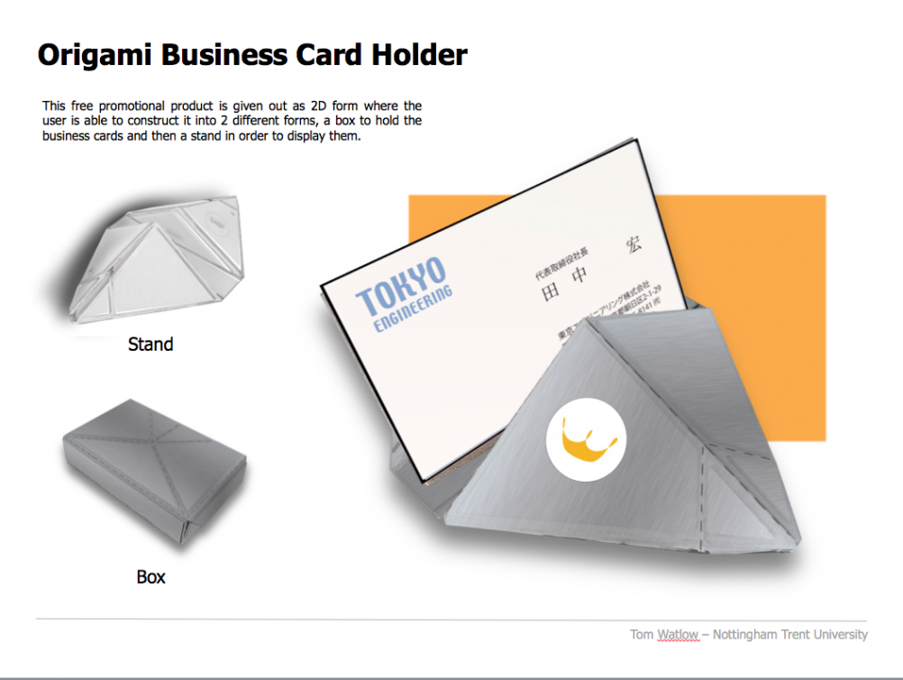Origami Business Card holder, by Tom Watlow