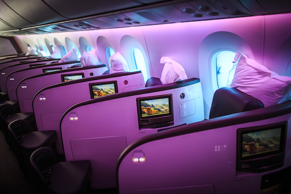 Stock pictures of Virgin Atlantic 787-9 aircraft Birthday Girl.