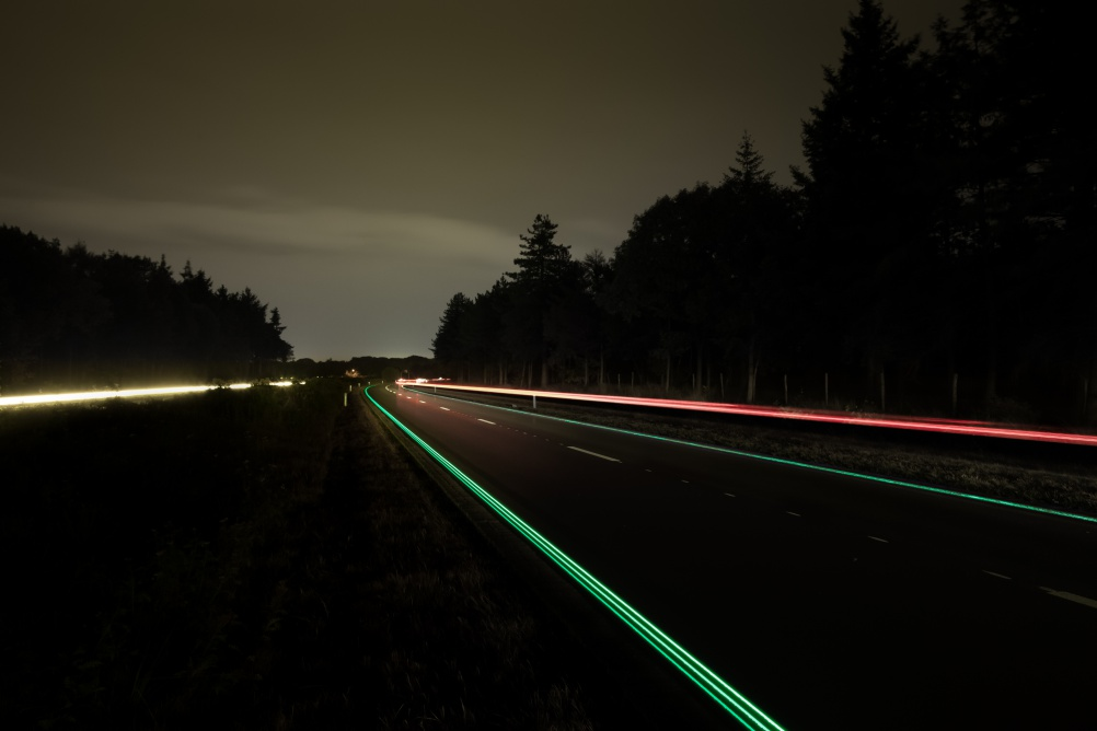 Glowing Lines, part of Daan Rosegaarde's Smart Highway project