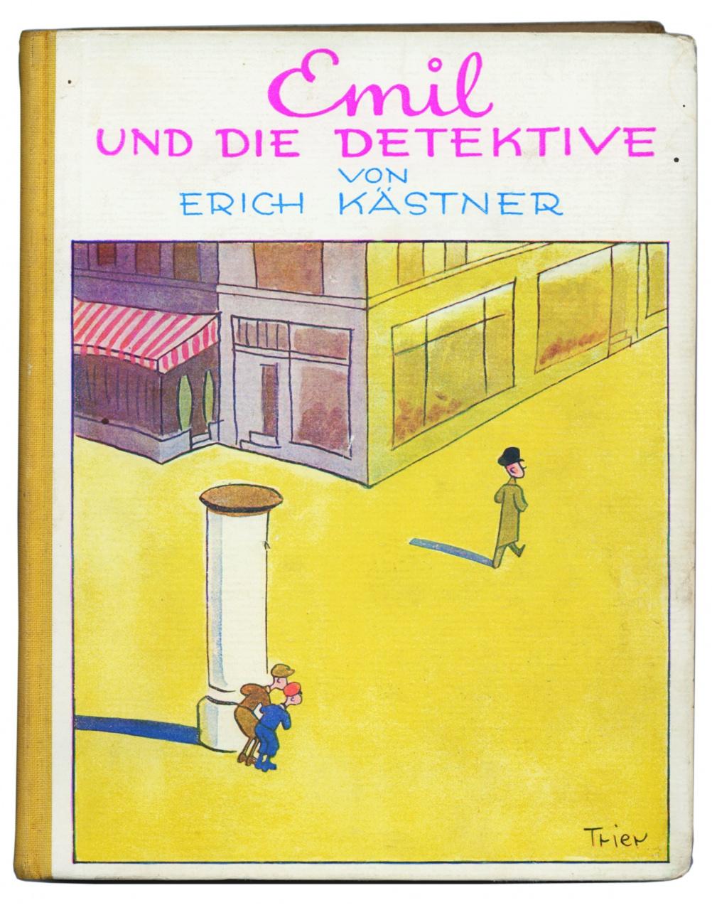 Erich Kästner. Emil und die Detektive. Ein Roman für Kinder.  Berlin: Williams & Co. (1931).  Cover illustration by Walter Trier.