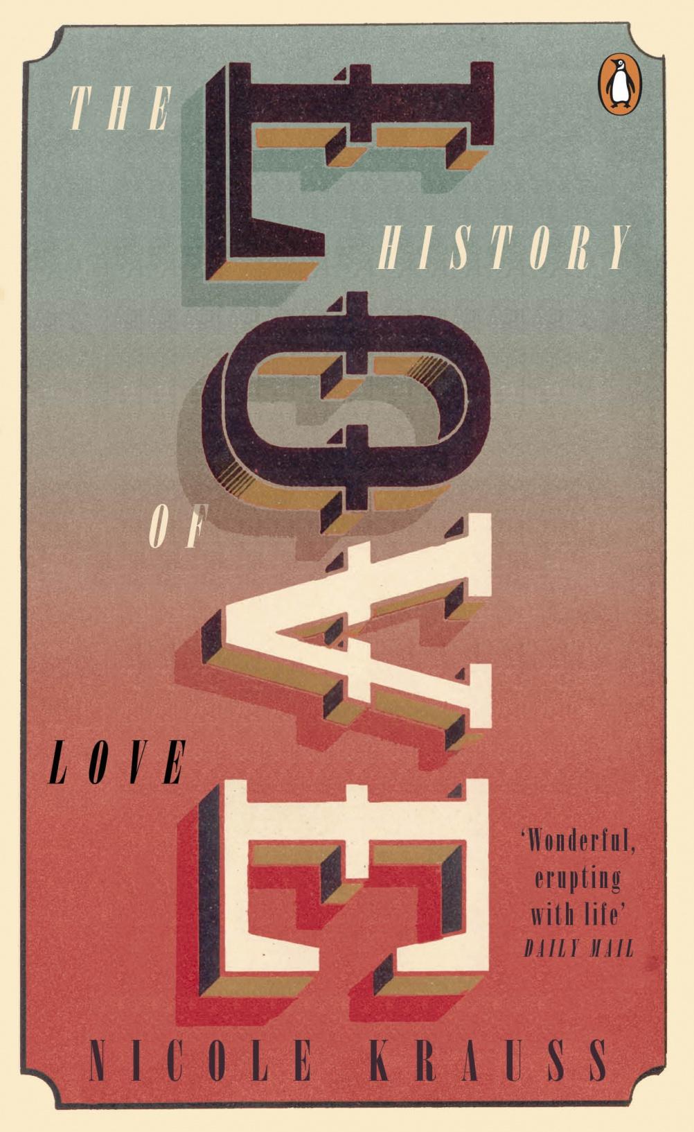 The History of Love by Nicole Krauss. Cover by  Ricardo Valiente