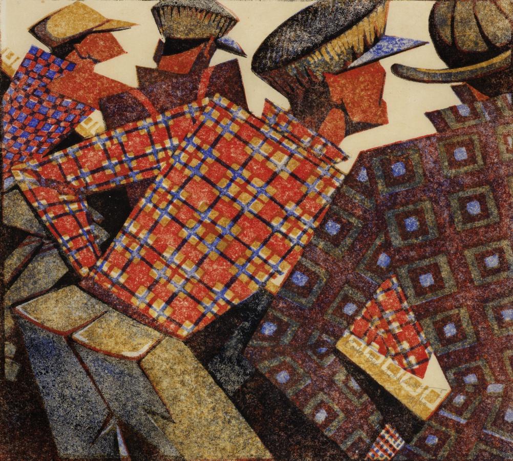 Coffee Bar by Sybil Andrews, 1952 - Linocut - 20.5 x 22.9 cm. Images Courtesy of Osborne Samuel