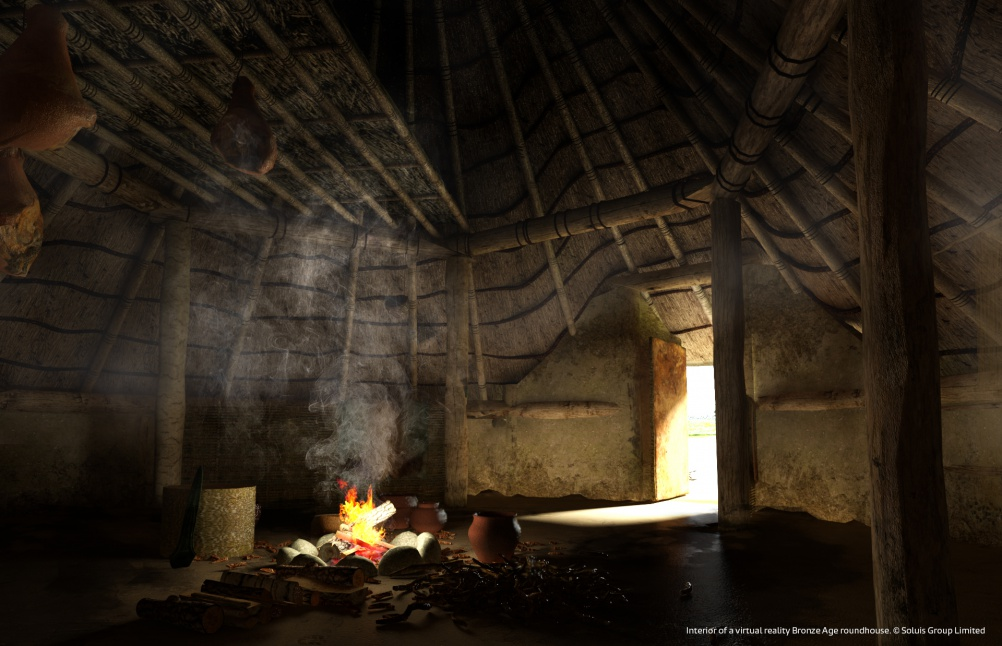 Interior of a virtual reality Bronze Age roundhouse © Soluis Group Limited
