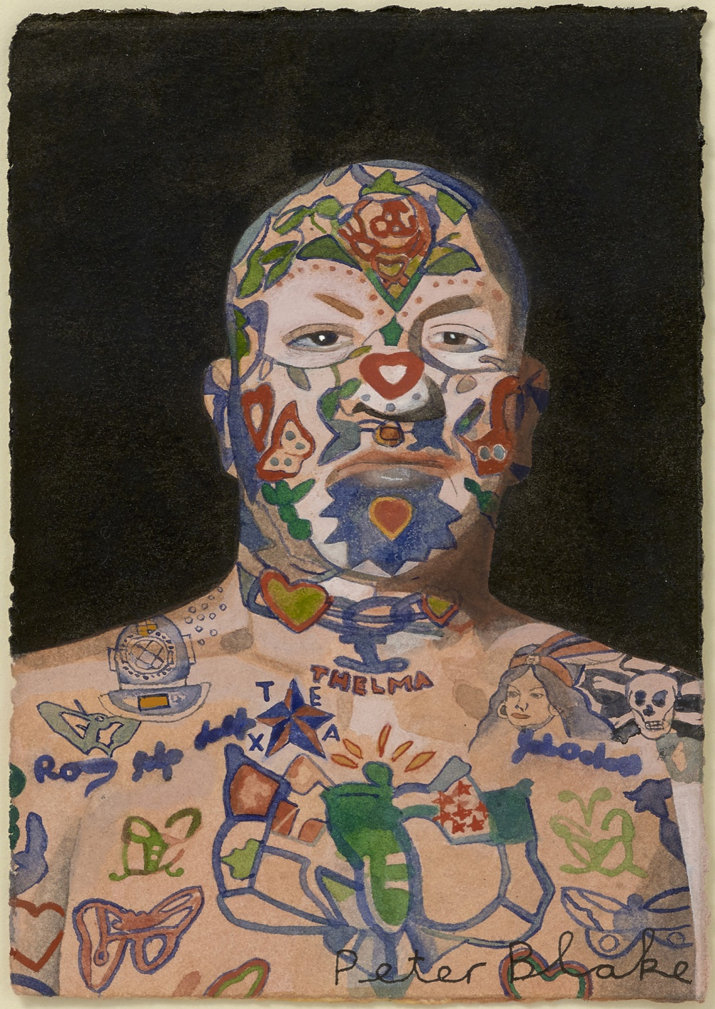 Peter Blake, Tattooed Man 5, 2015, watercolour
