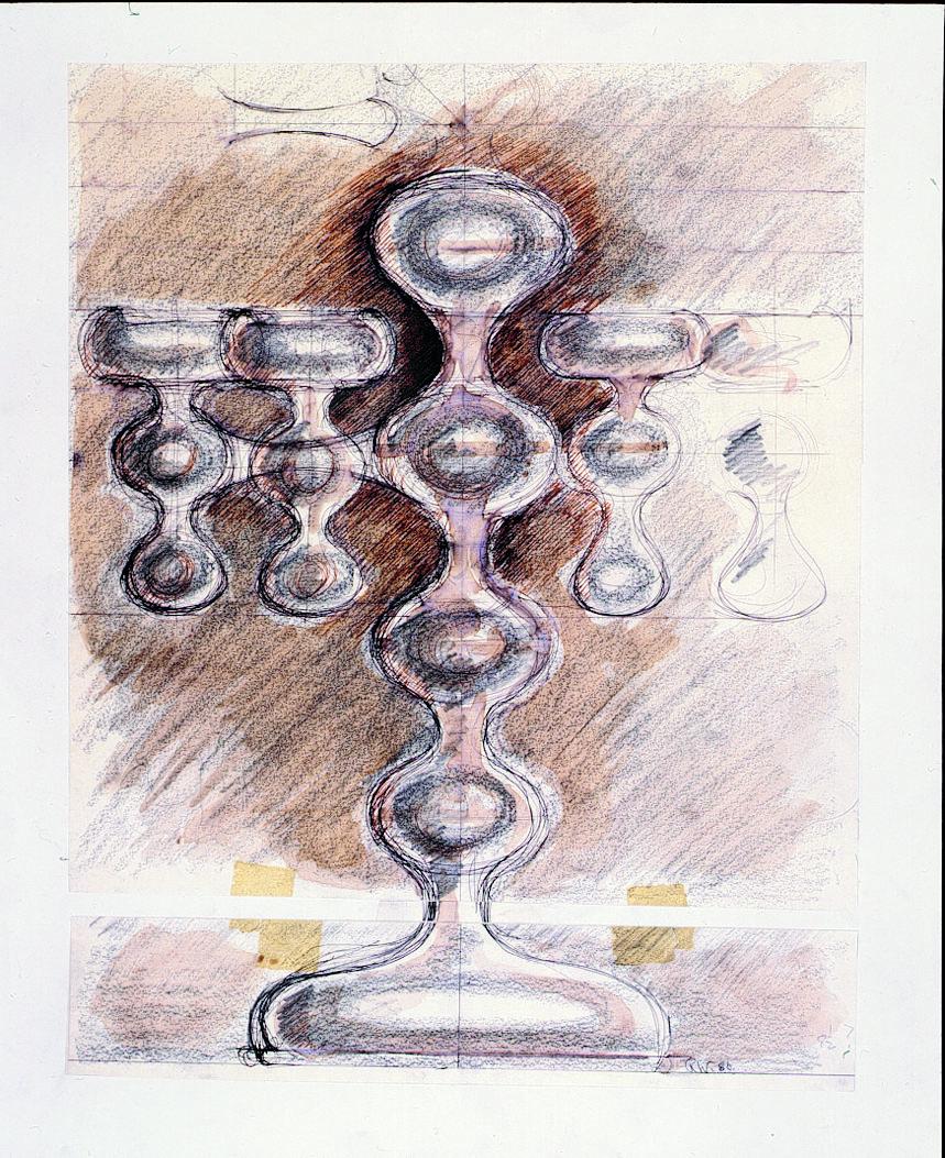 Silver V&A Candelabra Sketch