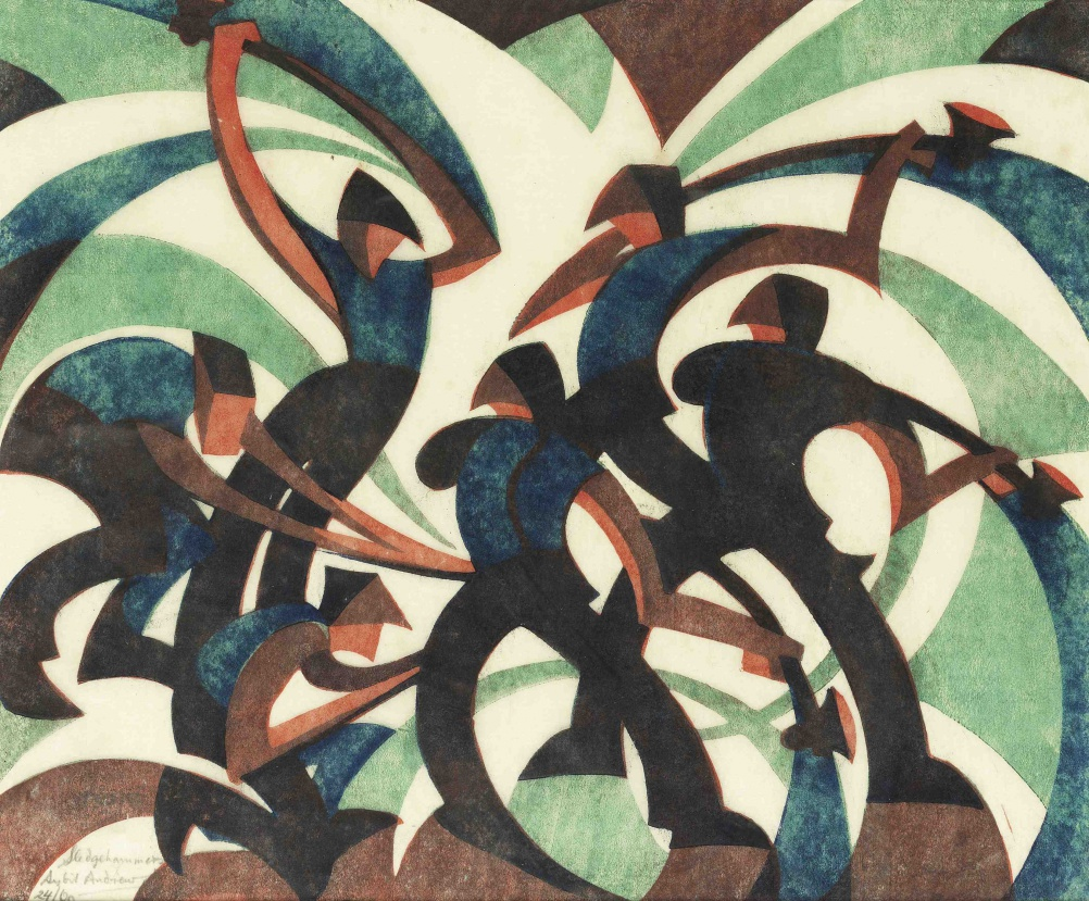 Sledgehammers by Sybil Andrews, 1933 - linocut - 20.2 x 22.8 cm. Image Courtesy of Osborne Samuel
