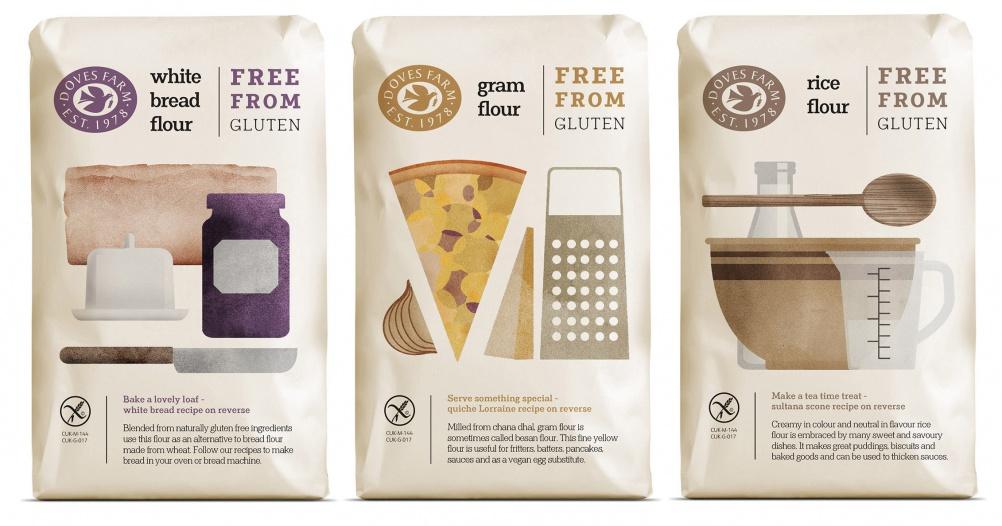 Doves Farm gluten free flour, packaging design, Studio h 1