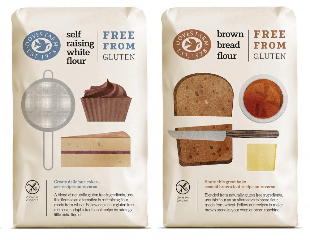 Doves Farm gluten free flour, packaging design, Studio h 2